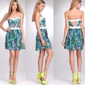 Bebe green white strapless studs pleats dress L